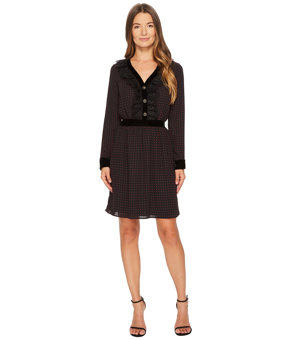 The Kooples - Long Sleeve Dress with a V-Neck and Front Button (Black) Womens Dress