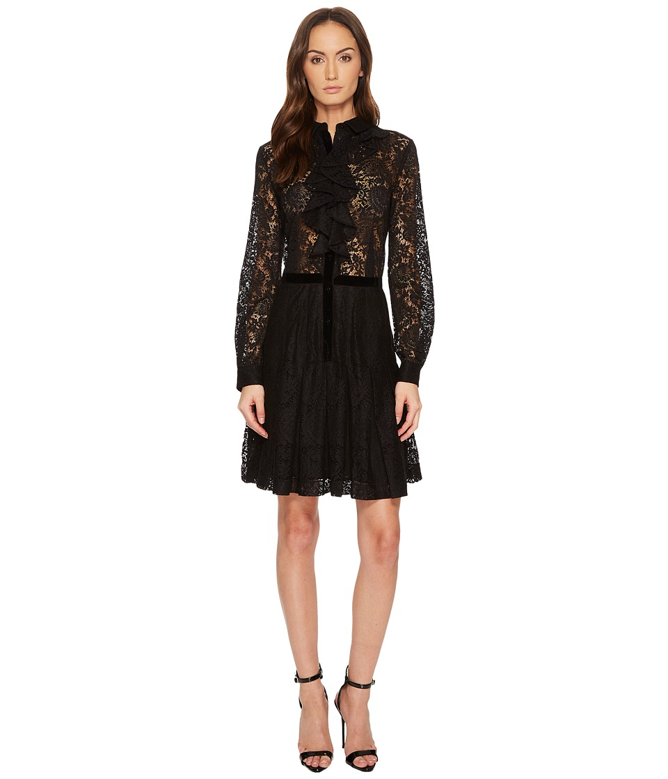 The Kooples Contrasting Lace Dress with Jewel Buttons (Black) Women