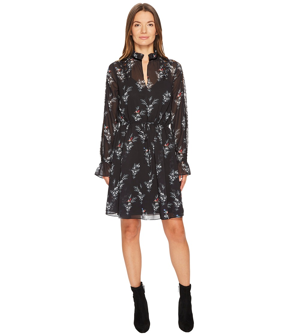 The Kooples Robe a Manches Longues Imprimee Rossignol En Polyester (Black) Women
