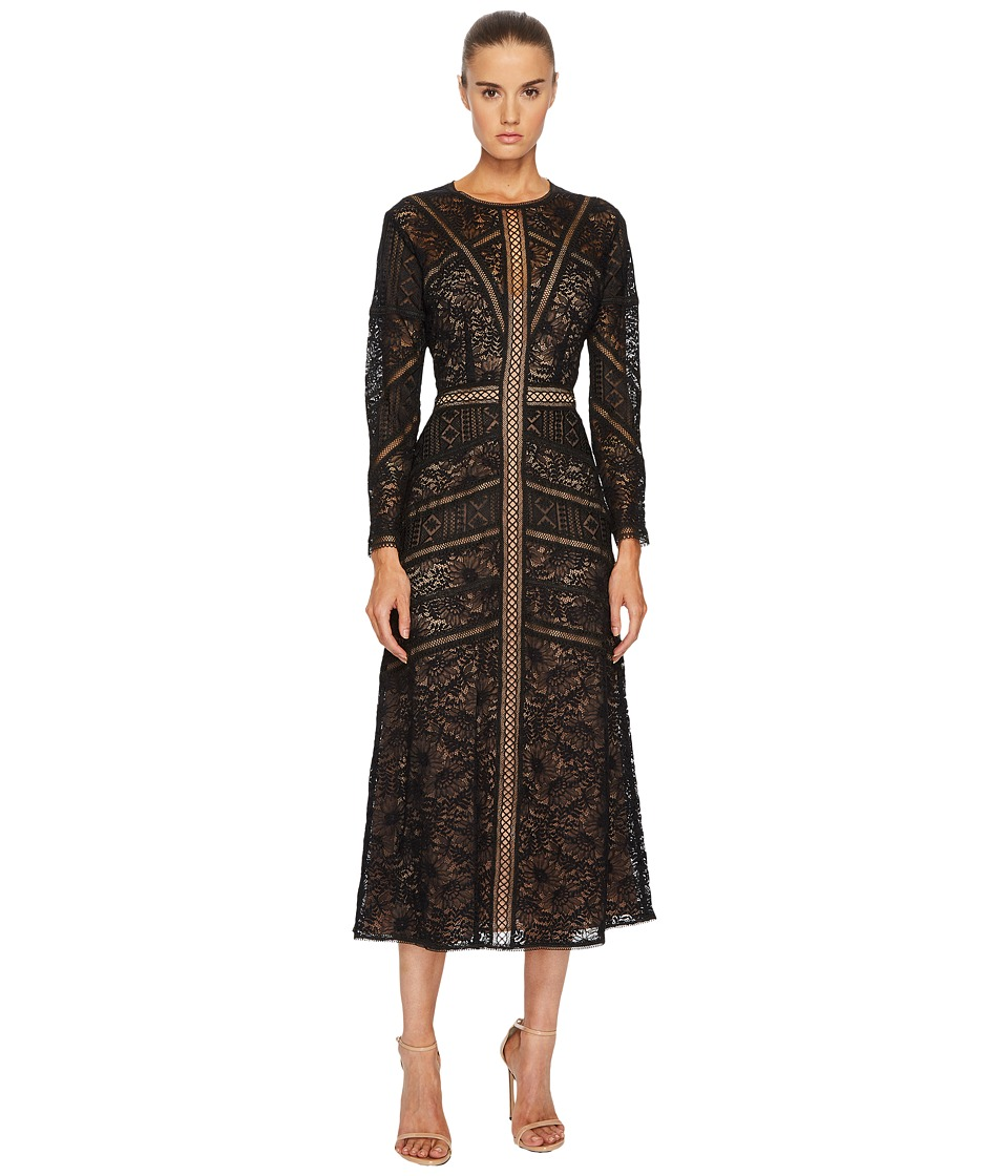 The Kooples Lace Dress with Long Sleeves (Black) Women