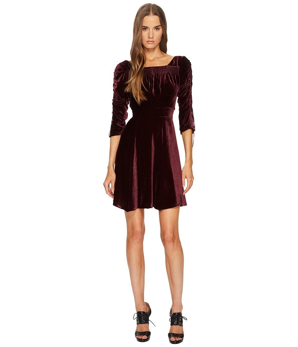 The Kooples Velvet Dress with Pleated Sleeves (Burgundy) Women