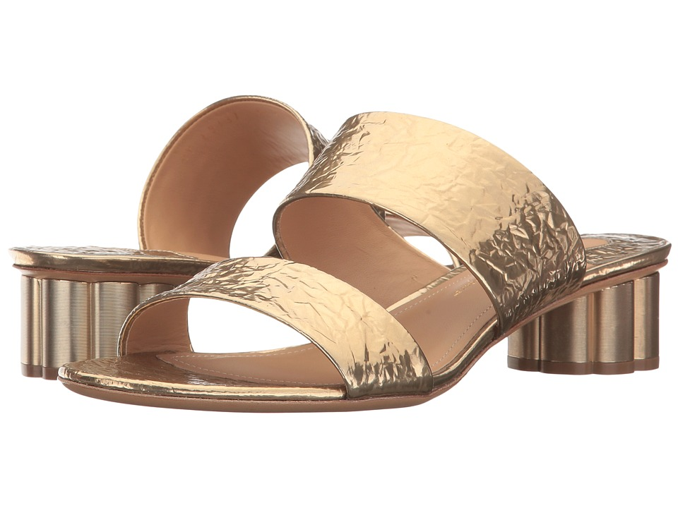 Salvatore Ferragamo Double Band Sandal (Gold/Giove) High Heels