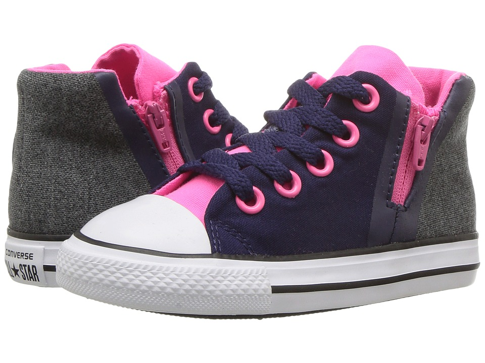 Converse Kids Chuck Taylor All Star Sport Zip Hi (Infant/Toddler) (Midnight Indigo/Black/Pink) Girls Shoes