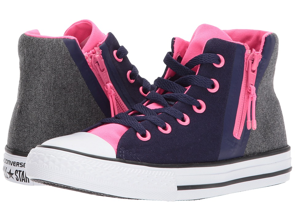 Converse Kids Chuck Taylor All Star Sport Zip Hi (Little Kid/Big Kid) (Midnight Indigo/Black/Pink) Girls Shoes