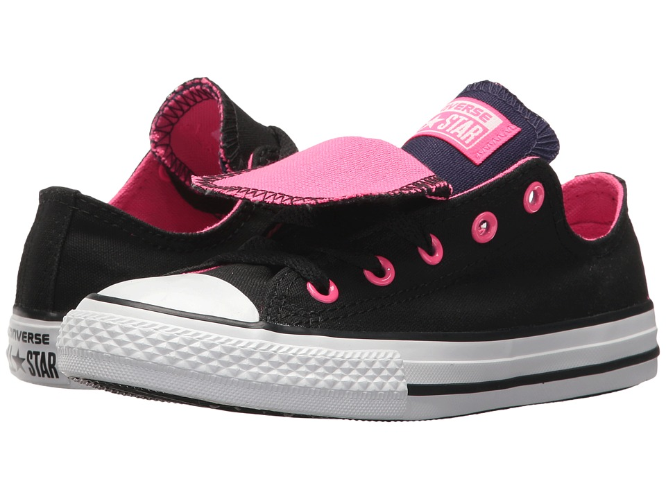 Converse Kids Chuck Taylor All Star Double Tongue Ox (Little Kid/Big Kid) (Black/Pink Pow/White) Girls Shoes