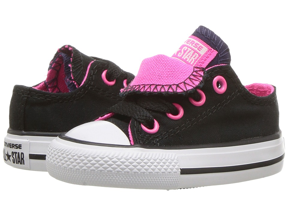 Converse Kids Chuck Taylor All Star Double Tongue Ox (Infant/Toddler) (Black/Pink Pow/White) Girls Shoes