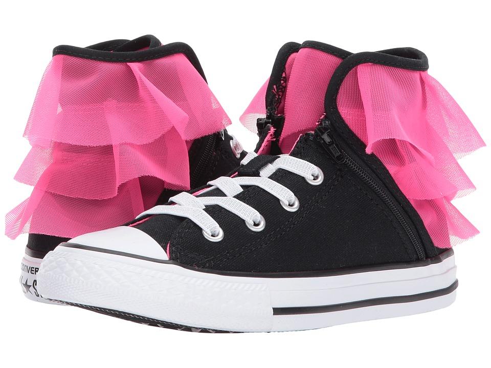 Converse Kids Chuck Taylor All Star Block Party Hi (Little Kid/Big Kid) (Black/Pink Pow/White) Girls Shoes