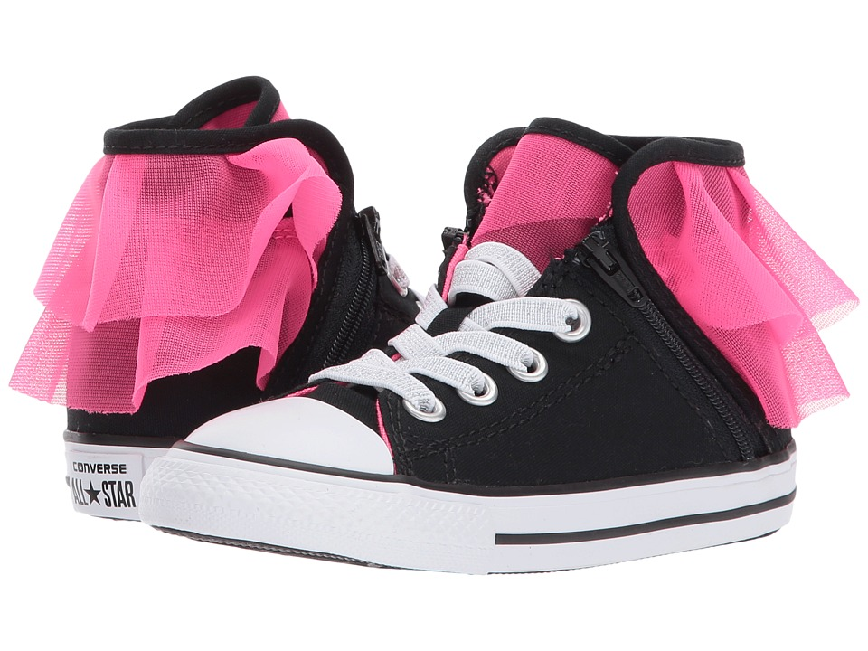 Converse Kids Chuck Taylor All Star Block Party Hi (Infant/Toddler) (Black/Pink Pow/White) Girls Shoes