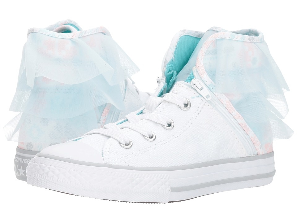 Converse Kids Chuck Taylor All Star Block Party Hi (Little Kid/Big Kid) (White/Glacier Blue/White) Girls Shoes