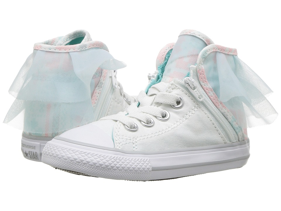Converse Kids Chuck Taylor All Star Block Party Hi (Infant/Toddler) (White/Glacier Blue/White) Girls Shoes
