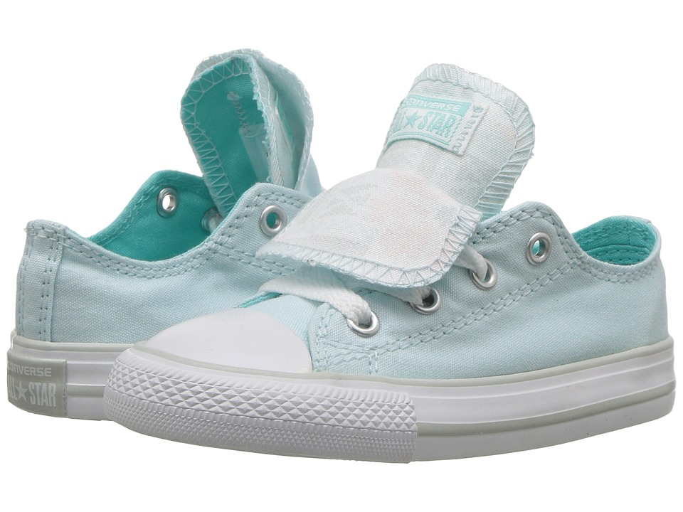 Converse Kids Chuck Taylor All Star Double Tongue Ox (Infant/Toddler) (Glacier Blue/White/White) Girls Shoes