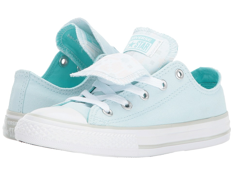 Converse Kids Chuck Taylor All Star Double Tongue Ox (Little Kid/Big Kid) (Glacier Blue/White/White) Girls Shoes