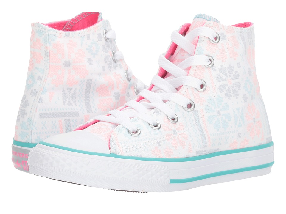 Converse Kids Chuck Taylor All Star Winter Graphic Hi (Little Kid/Big Kid) (White/Pink Pow/White) Girls Shoes