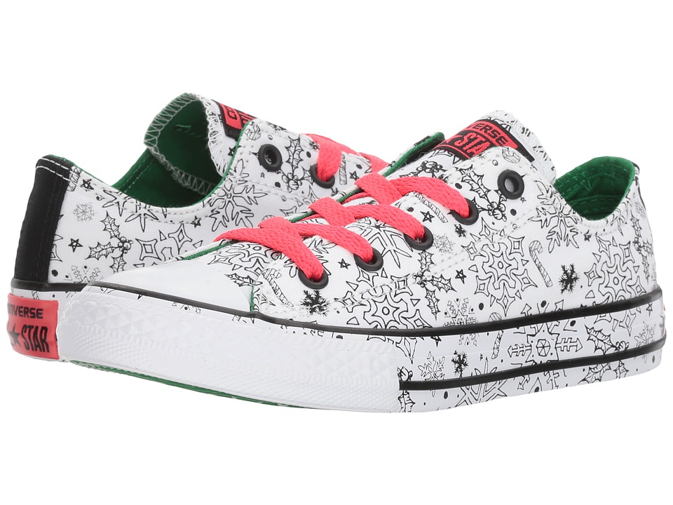 Converse Kids - Chuck Taylor All Star Holiday Coloring Book - Ox (Little Kid/Big Kid) (White/Green/Siren Red) Girls Shoes