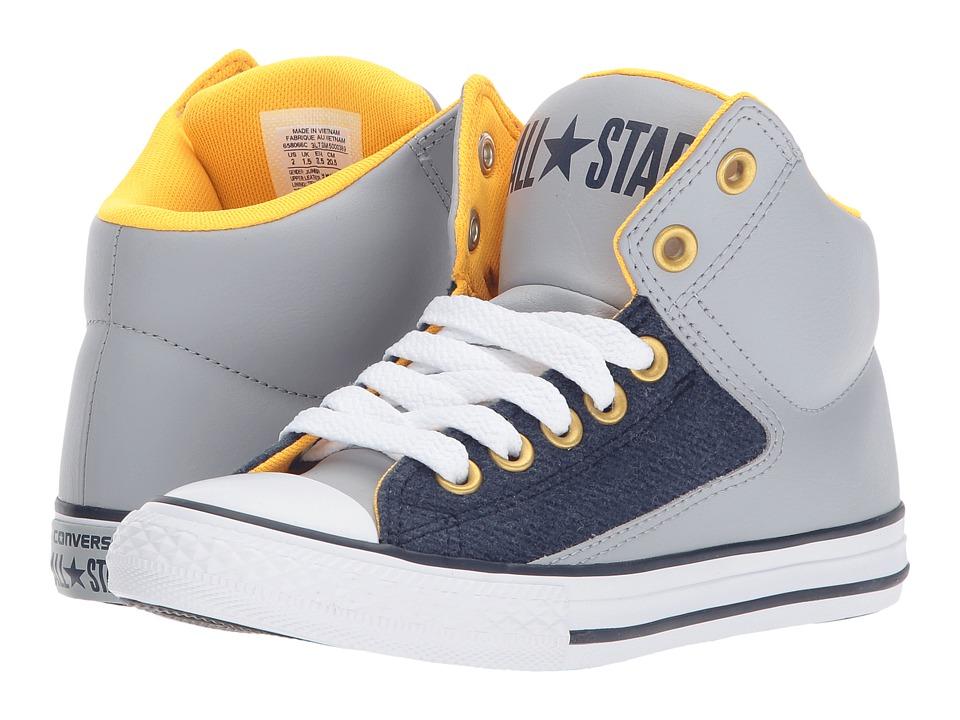 Converse Kids - Chuck Taylor All Star High Street - Hi (Little Kid/Big Kid) (Wolf Grey/Midnight Navy/White) Boys Shoes