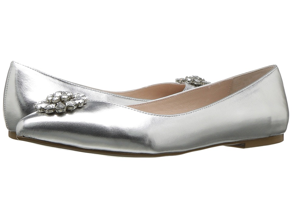 Vintage Style Wedding Shoes, Boots, Flats, Heels Blue by Betsey Johnson - Ava Silver Metallic Womens Dress Flat Shoes $89.99 AT vintagedancer.com