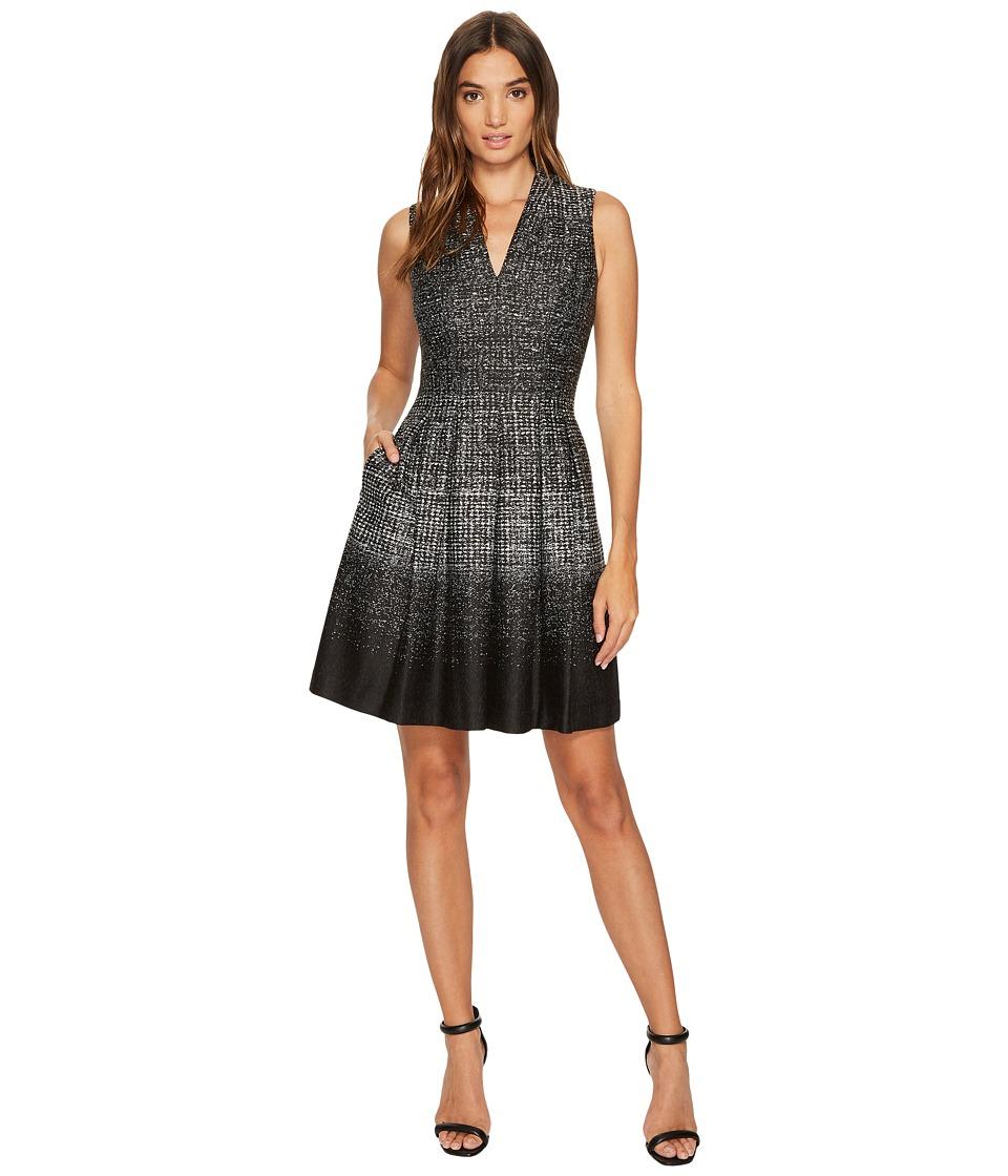 Vince Camuto Knit V-Neck Fit Flare Dress (Black/White) Women