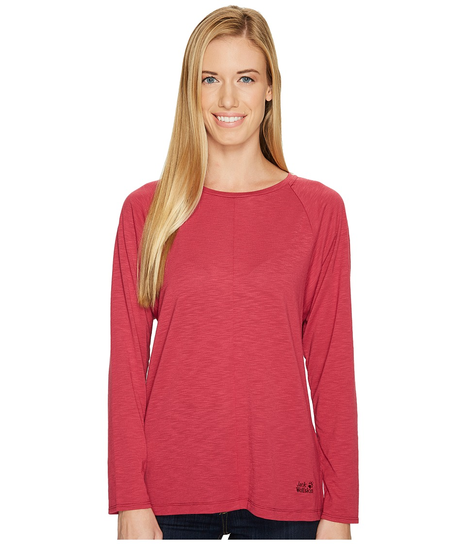 Jack Wolfskin Travel Long Sleeve T-Shirt (Dark Ruby) Women