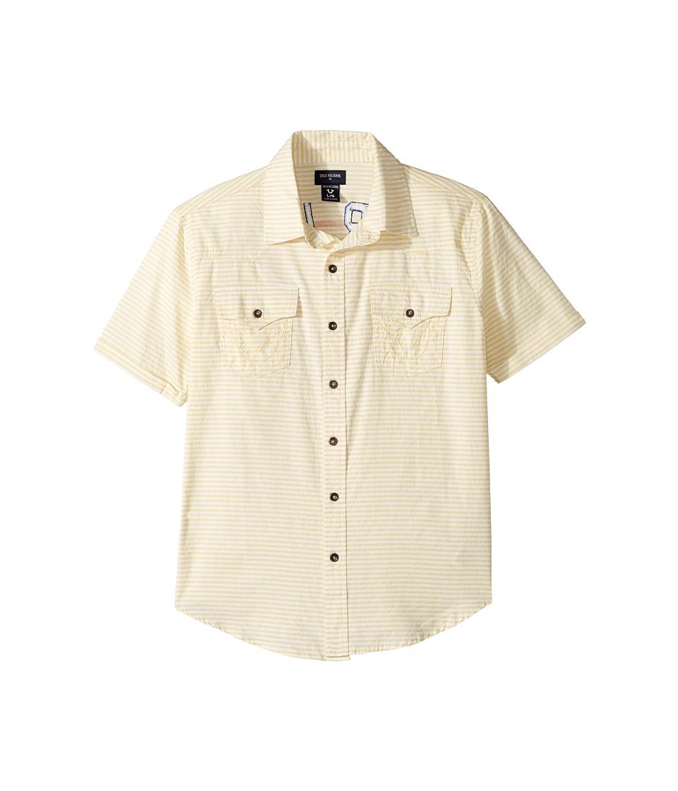 True Religion Kids Woven Stripe Shirt (Big Kids) (White) Boy