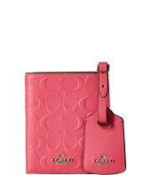 COACH - Embossed Signature Leather Passport Case Luggage Tag