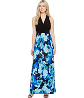 London times scarf print halter maxi dress