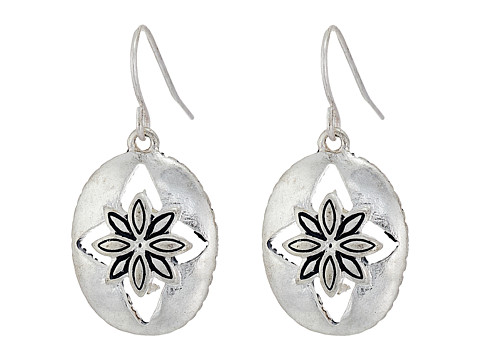The Sak Floral Oval Drop Earrings - Silver