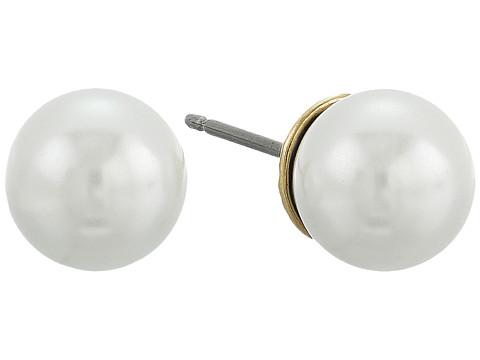 The Sak 8mm Pearl Stud Earrings - White/Gold