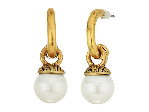 The Sak 8mm Pearl Hoop Drop Earrings - White/Gold