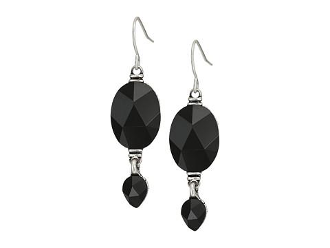 The Sak Double Bead Drop Earrings - Black/Silver