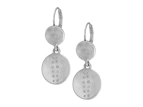 The Sak Debossed Double Drop Earrings - Silver