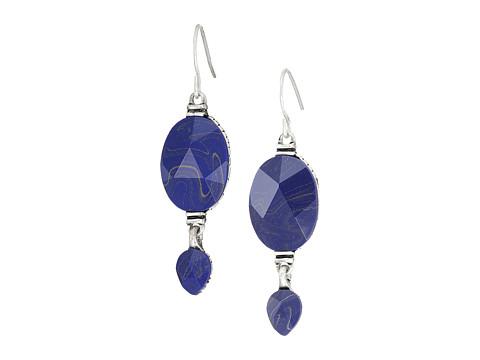 The Sak Double Bead Drop Earrings - Blue