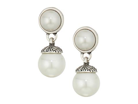 The Sak 8mm Pearl Double Drop Earrings - White/Silver