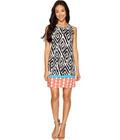 London Times - Petite Twin Tribal Border Sleeveless Shift