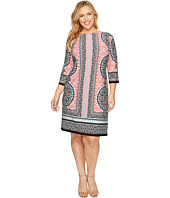 London Times - Plus Size Morrocan Medallion 3/4 Sleeve Shift