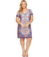 London Times - Plus Size Block Stripe Paisley Shift