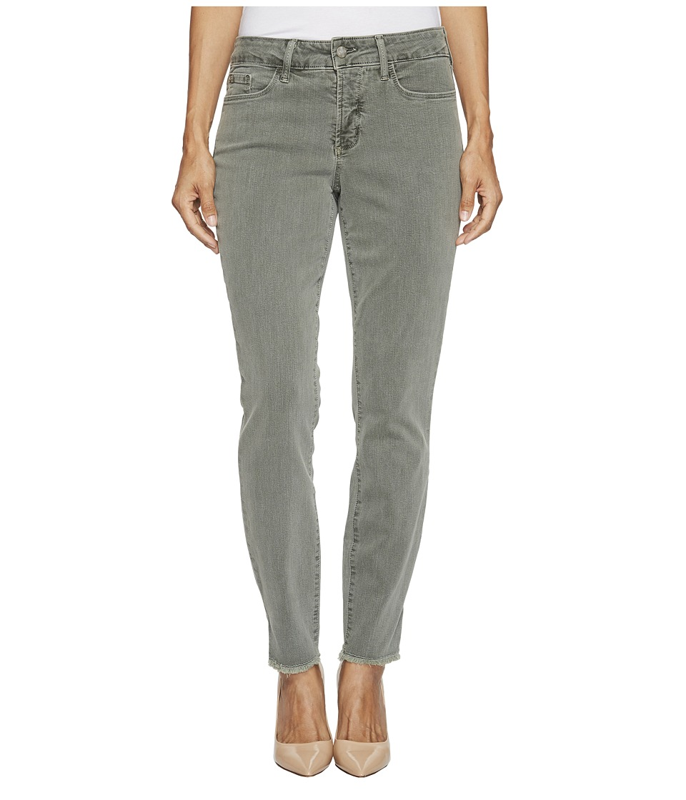 NYDJ Petite Petite Ami Skinny Ankle Jeans w/ Fray Side Slit in Fatigue (Fatigue) Women