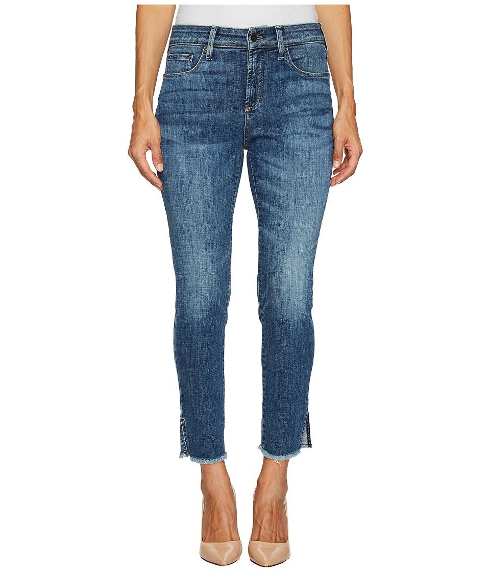 NYDJ Petite Petite Ami Skinny Ankle Jeans w/ Fray Side Slit in Crosshatch Denim in Newton (Newton) Women