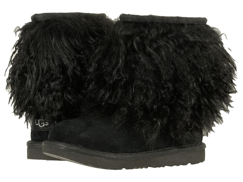 UGG Kids Classic Short II Fluff (Little Kid/Big Kid) (Black) Girls Shoes
