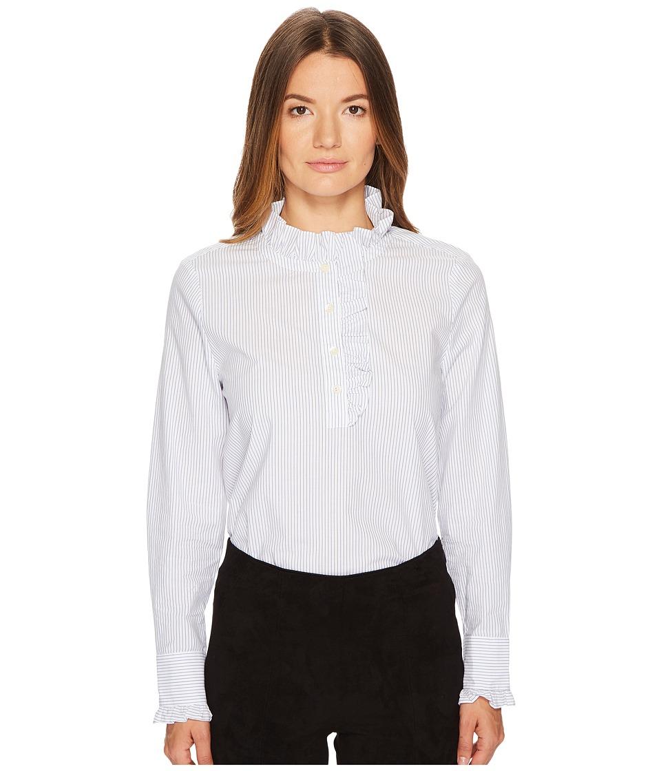 Victorian Style Blouses, Tops, Jackets Kate Spade New York - Stripe Ruffle Neck Poplin Shirt Fresh WhiteDeep Ultramarine Womens Clothing $138.00 AT vintagedancer.com