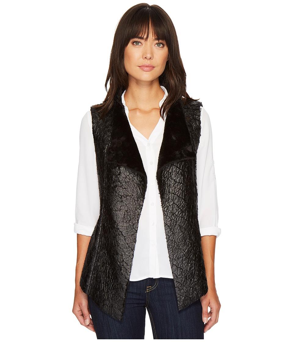 NYDJ Coated Faux Fur Vest (Black) Women's Vest
