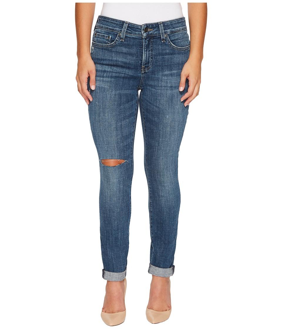 NYDJ Petite - Petite Girlfriend Jeans w/ Knee Slit in Crosshatch Denim in Newton Knee Slit (Newton Knee Slit) Womens Jeans