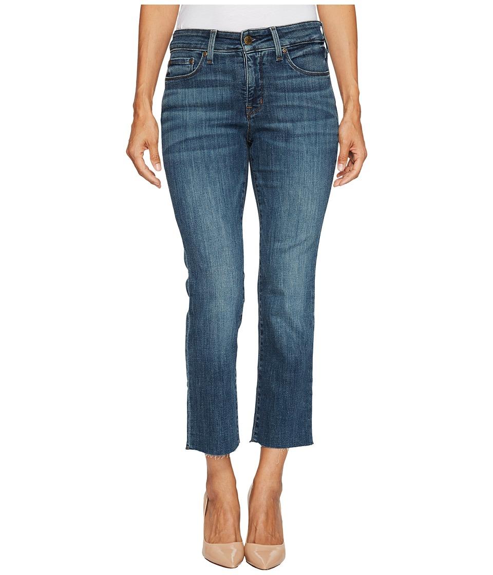 NYDJ Petite Petite Marilyn Straight Ankle Jeans w/ Raw Hem in Crosshatch Denim in Desert Gold (Desert Gold) Women