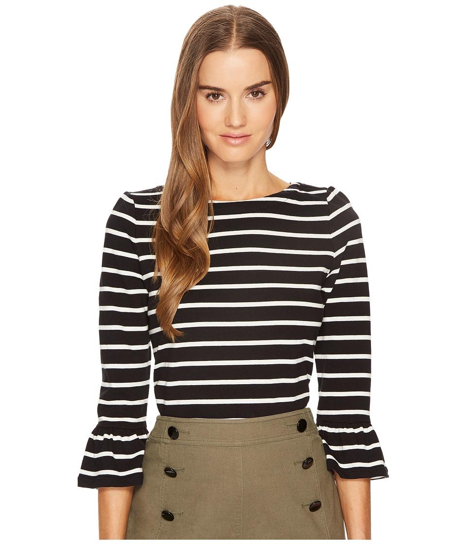 Kate Spade New York - Stripe Flounce Knit Top (Black/Off-...