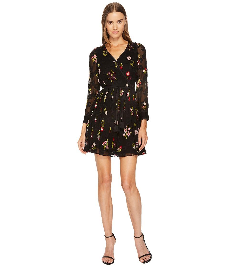 Kate Spade New York In Bloom Chiffon Mini Dress (Black Multi) Women