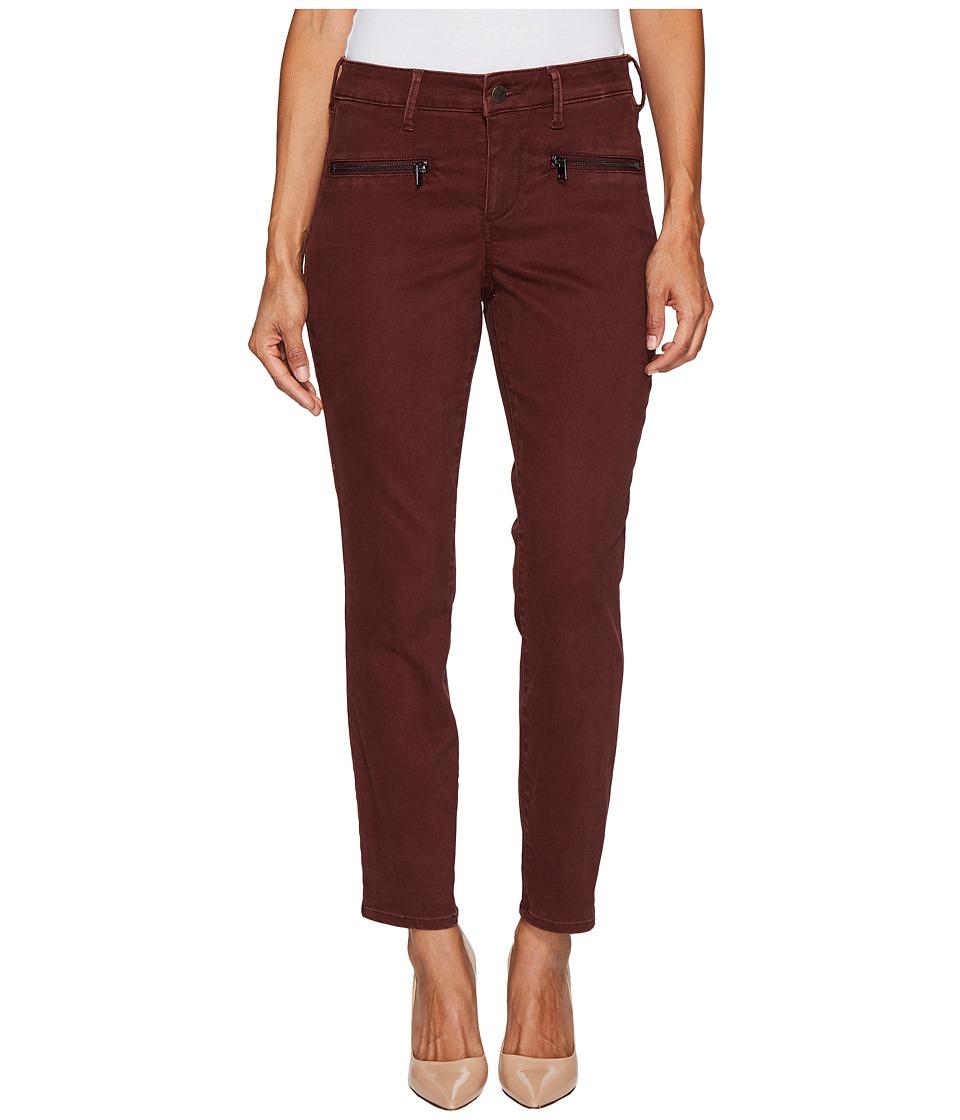 NYDJ Petite Petite Skinny Chino Pants w/ Zipper in Deep Currant (Deep Currant) Women