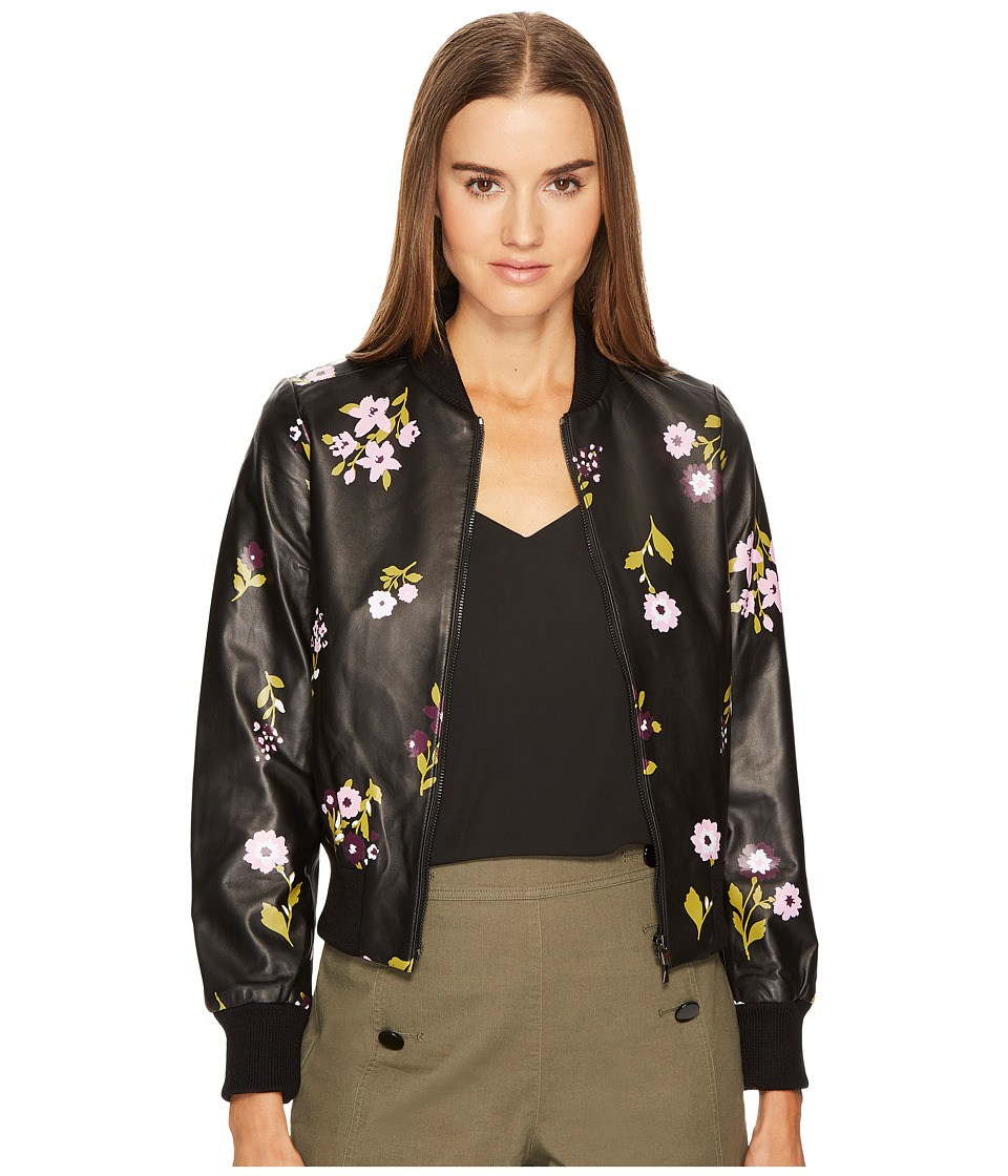 Kate Spade New York - In Bloom Leather Bomber Jacket (Bla...