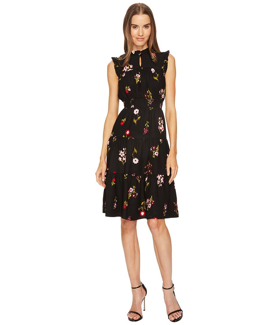 Kate Spade New York In Bloom Smocked Waist Dress (Black Multi) Women