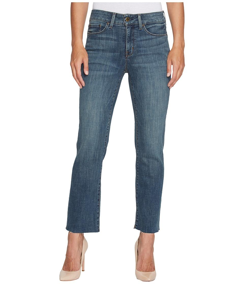 NYDJ - Marilyn Straight Ankle Jeans w/ Raw Hem in Crosshatch Denim in Desert Gold (Desert Gold) Womens Jeans