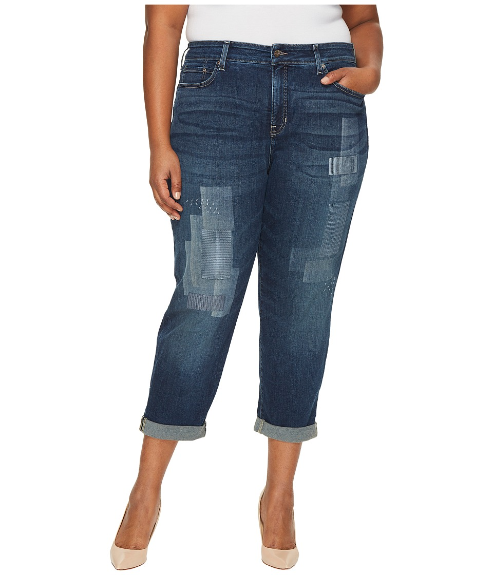 NYDJ Plus Size Plus Size Boyfriend Jeans with Laser Shadow Patch and Embroidery in Horizon (Horizon) Women