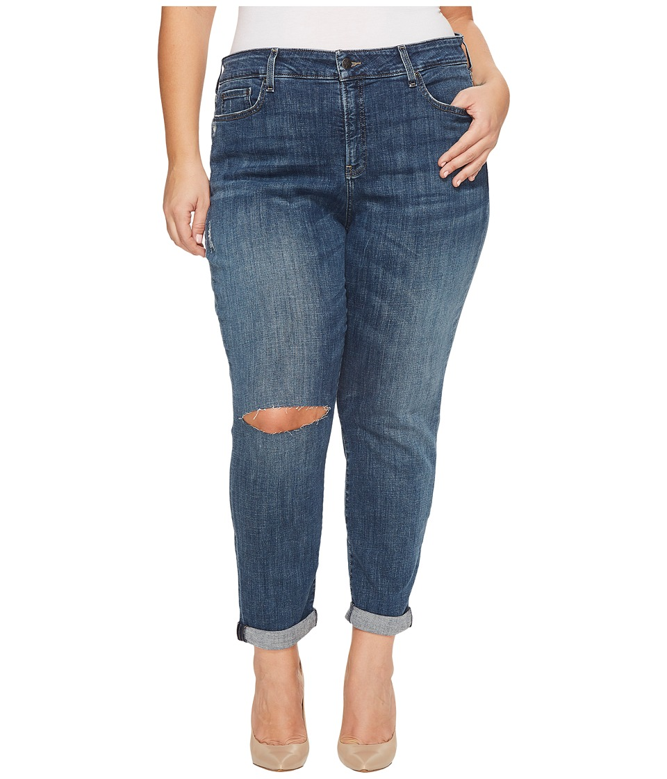 NYDJ Plus Size Plus Size Girlfriend Jeans with Knee Slit in Crosshatch Denim in Newton (Newton) Women